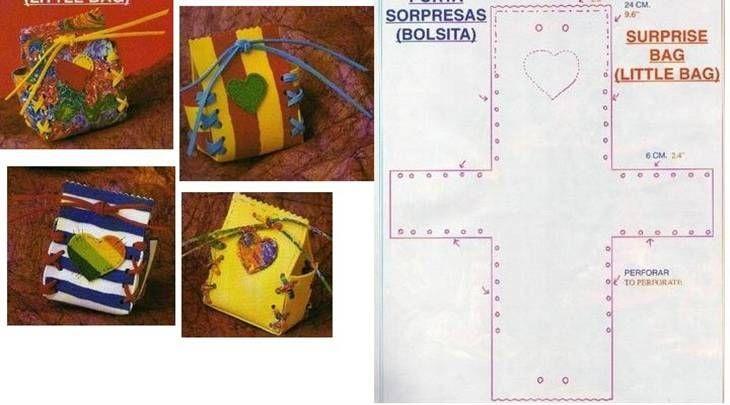 Bolsitas de regalo en goma eva ideal para souvenirs.