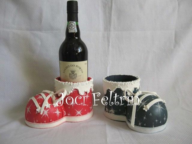 Porta bebida bota de navidad