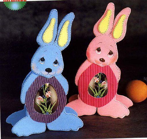 Conejo Porta Huevo De Pascuas Manualidades En Goma Eva Y Foami