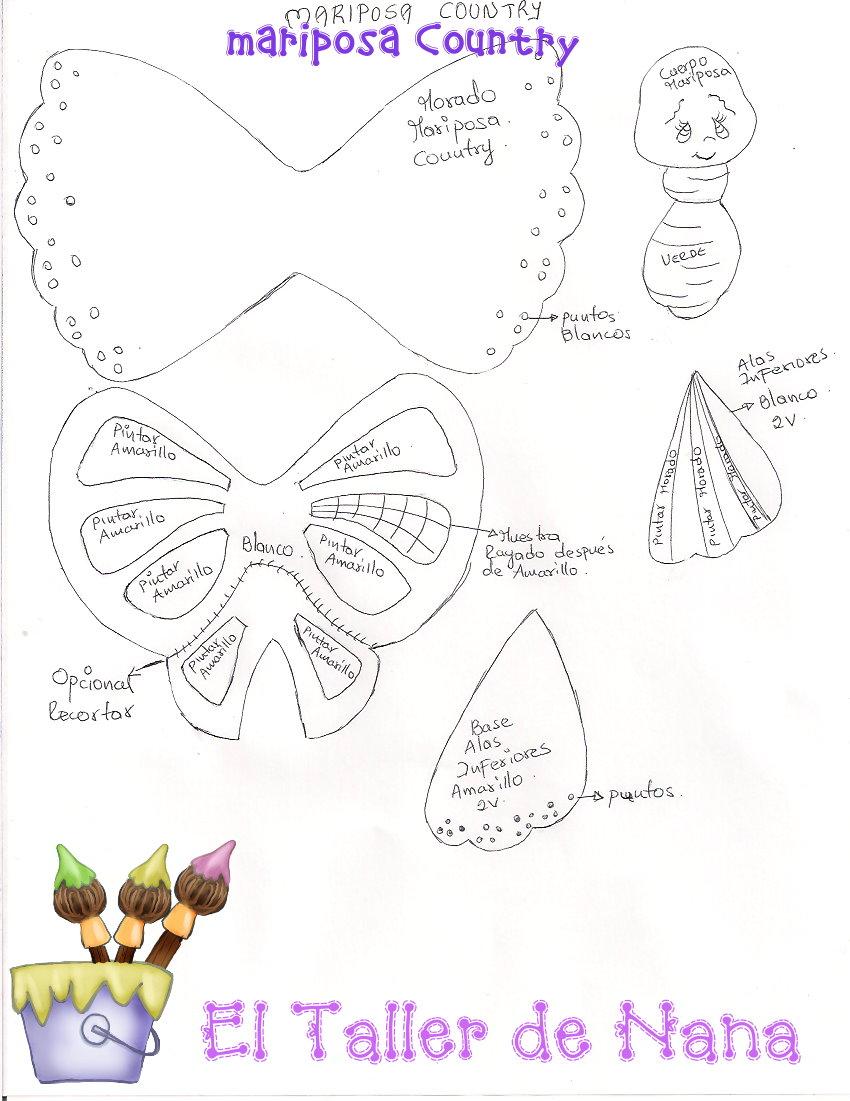 Mariposas country manualidades en goma eva y foami - Como hacer mariposas de goma eva ...