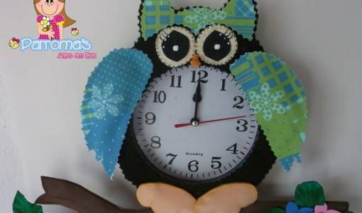 Moldes de buhos todo en goma eva - Manualidades relojes infantiles ...