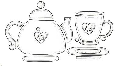 Juego de te tetera y tazas manualidades en goma eva y foami for Juego de tazas de te