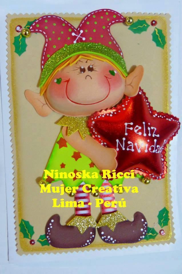 Tarjeta navide a con duende manualidades en goma eva y foami - Trabajos en goma eva navidad ...