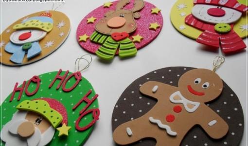 Adornos para el arbol de navidad todo en goma eva - Como hacer motivos navidenos ...
