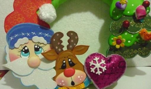 Corona De Navidad Todo En Goma Eva. Decoraciones