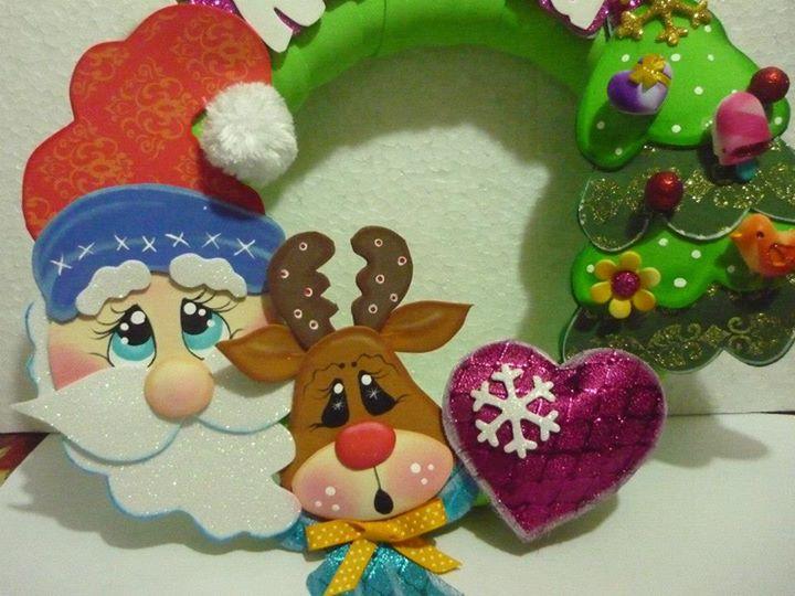 Hermosa corona de navidad moldes manualidades en goma - Para navidad manualidades ...
