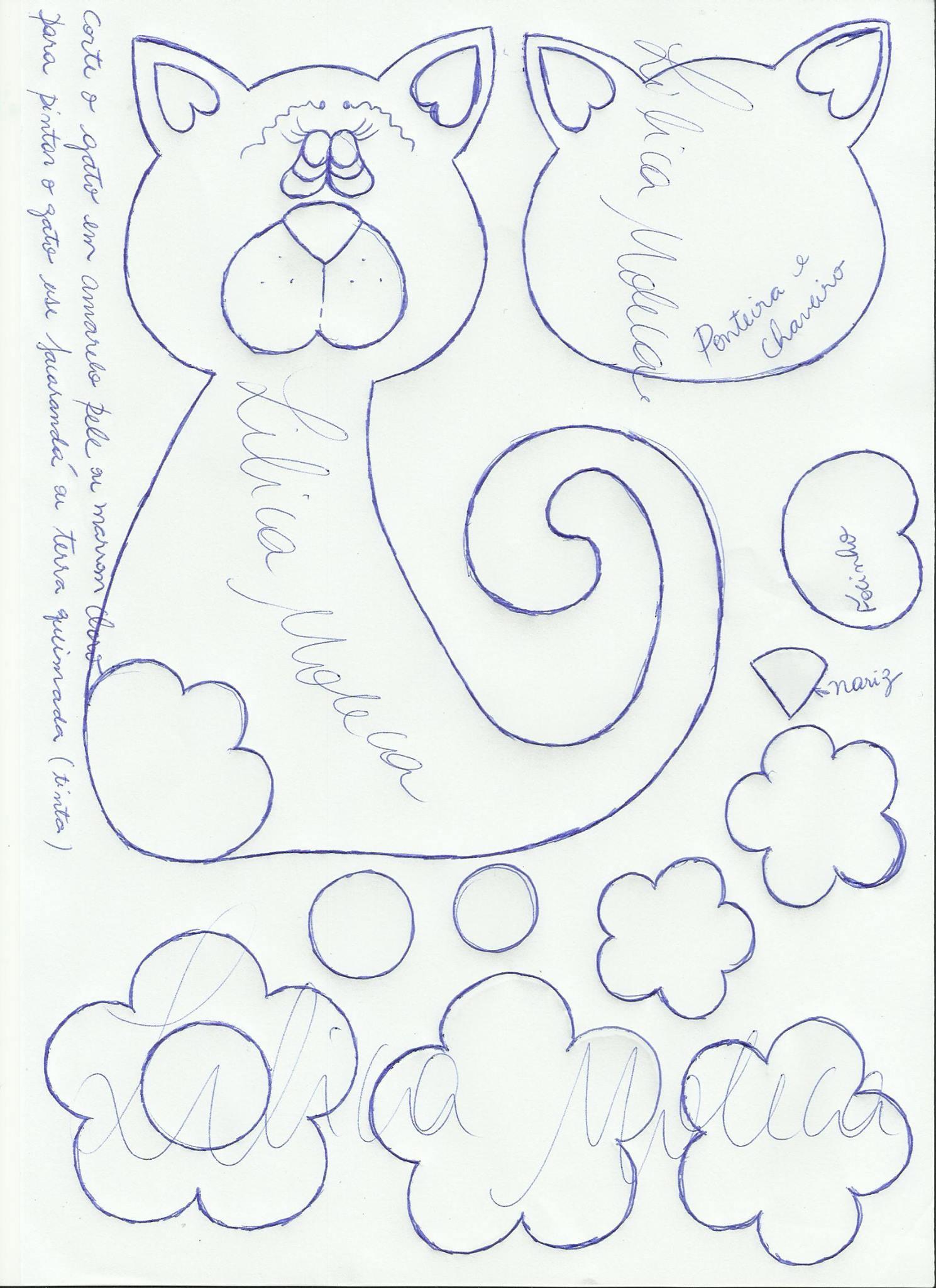 cuaderno decorado gatito moldes