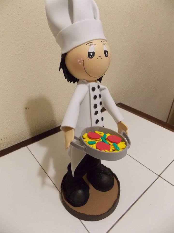 Moldes fofucho cocinero manualidades en goma eva y foami for Material para chef