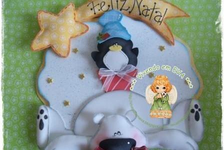 placa natal pinguim e urso 1