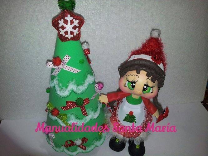 fofucha de navidad con arbol de navidad