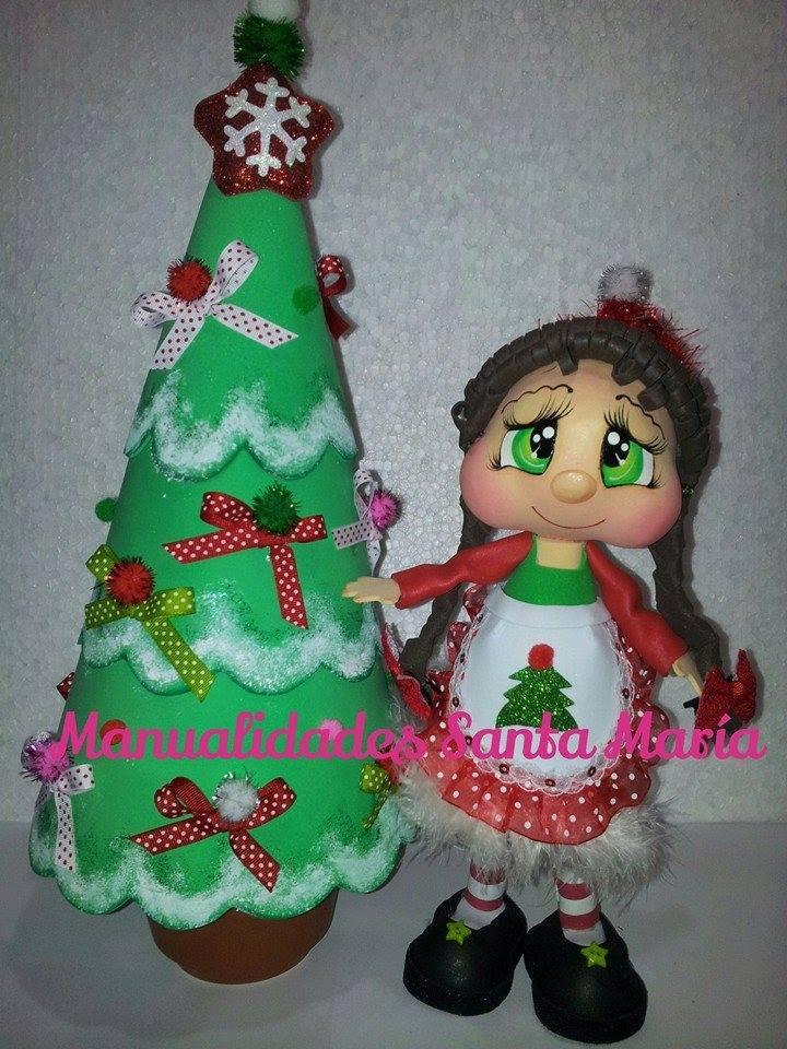 Mu eca de navidad con arbolito manualidades en goma eva - Adornos navidenos de goma eva ...