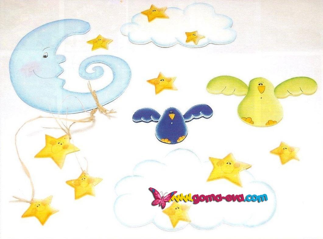 Beb s set de decoraci n para la pared manualidades en - Decorar paredes infantiles con goma eva ...