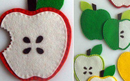 Posavasos de goma eva con forma de manzana 3