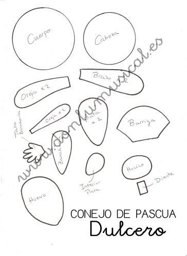 DIY Conejito dulcero de Pascua molde