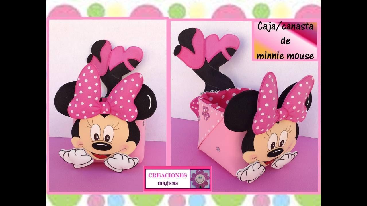 Caja de minnie mouse en cart n y goma eva manualidades for Sobres de goma eva